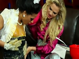 Making an egg mess with the maid