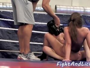 Lesbian babes scissoring after wrestling