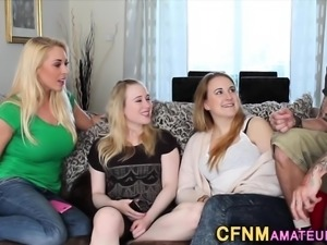 Clothed group blondes tug