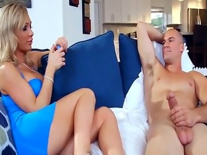 Footjob from Blonde cougar Babe