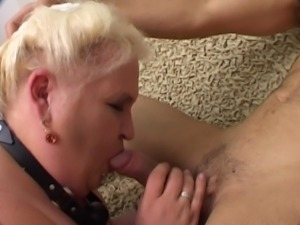 Fat blonde slave bitch gives her head and nailed hard