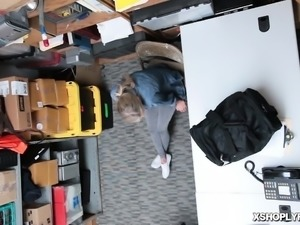 Shoplifter teen pussy getting railed so deep