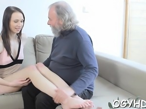 Sweet young playgirl gives passionate ride to an old dude