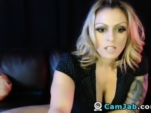 Blonde Babe Deepthroat Dildo and Fucks her Pussy