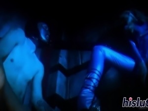 Busty blonde wearing latex gets fucked hard