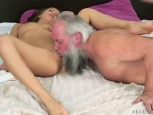 Old bearded man is fortunate enough to have sex with sexy Dominica Fox