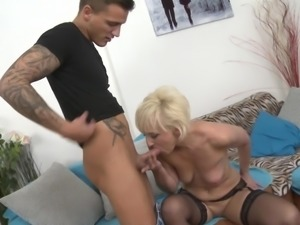 sexy milf sucks his dick and swollen balls