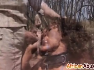African chick gives head and gets banged roughly