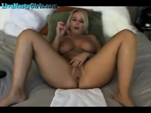 Blonde shows her big round boobs on cam