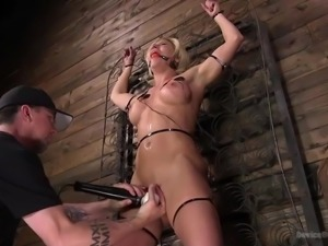 busty blonde is trembling in orgasm