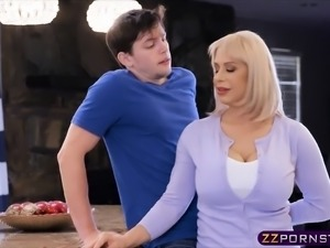 Blonde MILF with huge tits gets fucked by a lucky dude