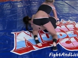 Wrestling european babes licking pussies