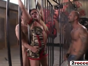 Nasty blonde whore gets DPed in the prison cell