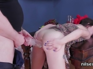Unusual sweetie was brought in anal hole nuthouse for uninhi