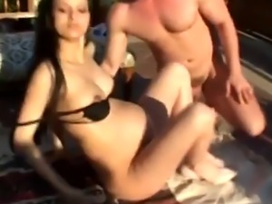 Pregnant babe gets licked and sucks cock outdoors