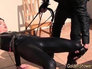 Bdsm slut gets urinated
