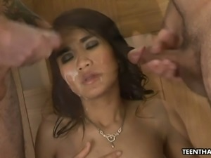 Holy shit this Asian chick is nasty and she loves MMF threesomes