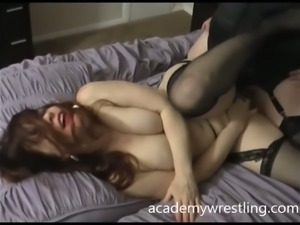 Scissor fucking each other and licking each other's pussies in the bedroom