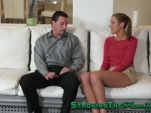 Teen gives taboo blowjob