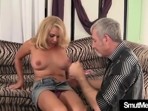 Experienced blond milf gets her mature pussy eaten by her