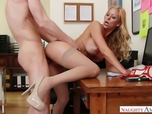 Blond haired stunning MILFie secretary loves to ride cock in the office