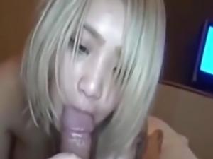 Blonde japanese girl sucking cock