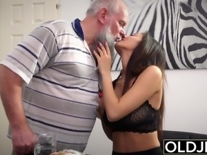 Young Busty Teen Takes Facial Cumshot From Grandpa Cock