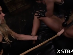 Bitch gets her dripping wet pleased with huge toys