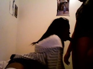 Beautiful amateur black teen babe riding cock hard and fast