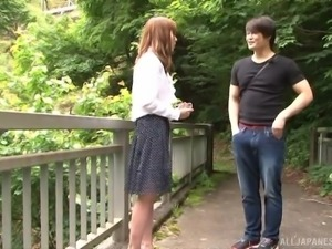 Sweet Japanese girl seduced for an outdoor plowing session