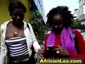 Amateur African lesbos lick pussies in shower