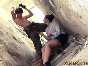 Slut gets urine soaked