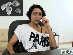 Bitch gets tempted and then drilled right inside the office