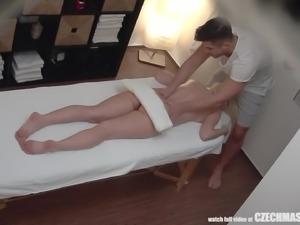 busty blonde czech babe rides her masseur's cock