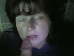 She sucks my dick like dirty whore and I jizz on her face