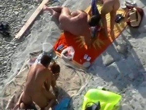 Horny skinny chicks all nude fucking their boyfriends on the beach