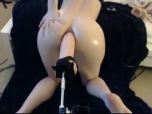 Massive anal dildo fucks anus of my whore wife in doggy pose