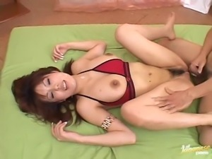 Horny lovers cover Mei Amasaki's hairy cunt with semen