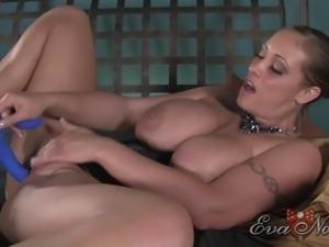 Solo model Eva with big tits likes masturbating with toys