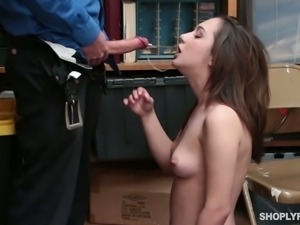 To be forgiven for some theft Lily Jordan is ready to suck cop's stiff dick