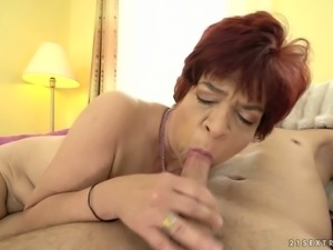 Horny granny Donatella is in the mood for some fresh meat