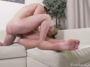 Wild and happy bitch Daniella Margot offers buddy to fuck her anus hard
