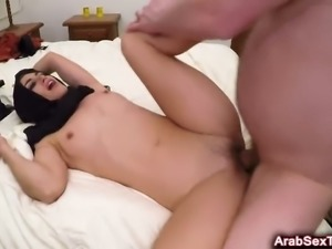 Sexy Arab girl has no money but a horny hotel manager knows how she can pay...