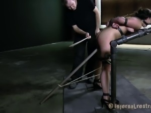 Tattooed masked Dana big tits getting compressed in BDSM porn