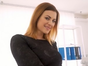 Perfect buxom Kattie Gold plays with her own nipples and big tits