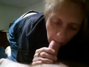 One perverted granny living nextdoor sucks my dick