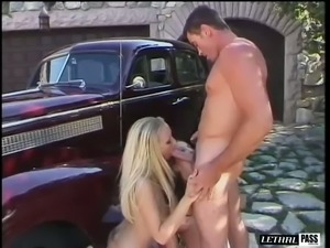 Expensive cars turns Chandler Steele on and this blonde loves threesomes