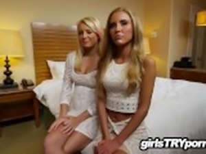 Two fresh hot blonde babes have first foursome