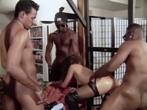 Insane hardcore interracial gangbang with gorgeous white girl