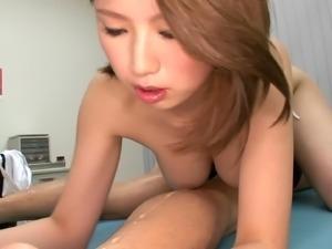 Nurse Mayuka in uniform loving her natural boobs massaged